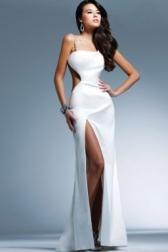 Длинное белое выпускное вечернее Сатиновое стрэйч платье Faviana.